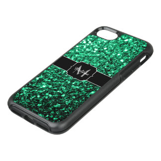Beautiful Emerald Green glitter sparkles Monogram OtterBox Symmetry iPhone 7 Case