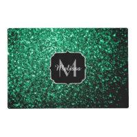 Beautiful Emerald Green glitter sparkles Monogram Placemat