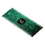 Beautiful Emerald Green glitter sparkles Monogram Ruler