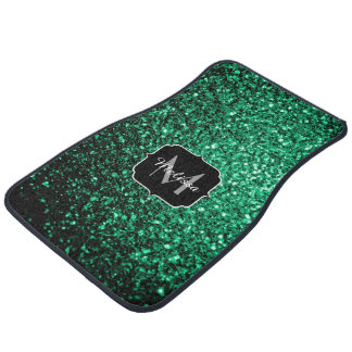 Beautiful Emerald Green sparkles Monogram Car Floor Mat