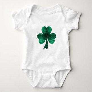 Beautiful Emerald Green Sparkles Shamrock Clover Baby Bodysuit