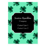 Beautiful Emerald Green Sparkles Shamrock Clover Large Business Cards (Pack Of 100)
