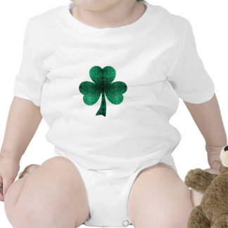 Beautiful Emerald Green Sparkles Shamrock Clover Baby Creeper
