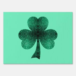 Beautiful Emerald Green Sparkles Shamrock Clover Lawn Signs