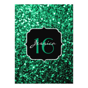 Beautiful Emerald Green sparkles  5.5x7.5 Paper Invitation Card