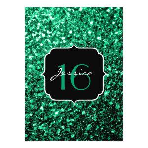 Beautiful Emerald Green sparkles  5.5x7.5 Paper Invitation Card