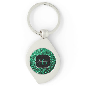 Beautiful Emerald Green sparkles keychain