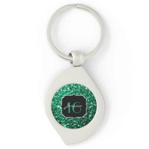 Beautiful Emerald Green sparkles keychain