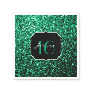 Beautiful Emerald Green sparkles Sweet 16 napkins Standard Cocktail Napkin