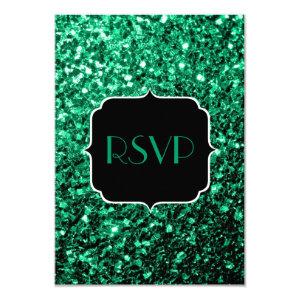 Beautiful Emerald Green sparkles  RSVP 3.5x5 Paper Invitation Card