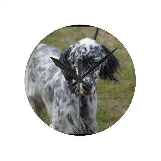 Beautiful English Setter Dog Round Clock