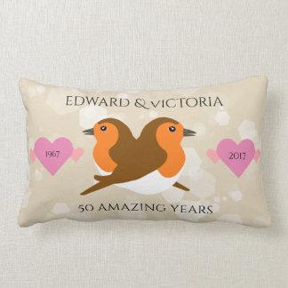 Beautiful European Robins: Any Year Anniversary Lumbar Pillow