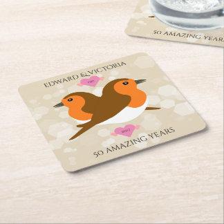Beautiful European Robins: Any Year Anniversary Square Paper Coaster