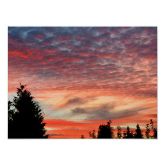 beautiful evening-red with fleecy clouds poster
