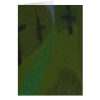 Beautiful Evergreen Lined Drive on Card. Card