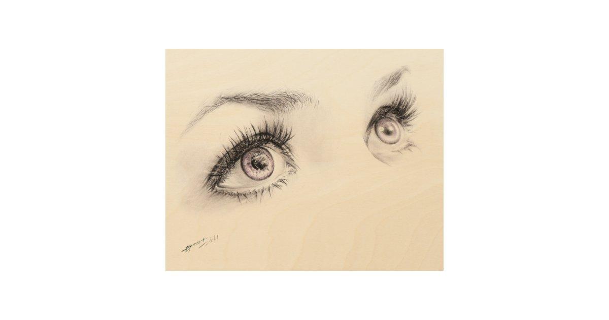 Beautiful Eyes Drawing Minimalist Art Wood Canvas Zazzle Com