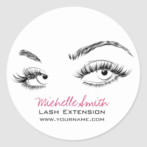 Beautiful eyes Long lashes Lash Extension Classic Round Sticker