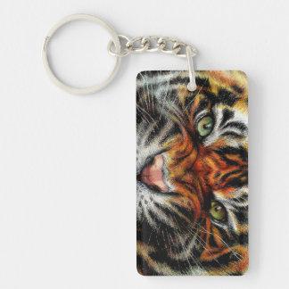 Beautiful face of big cat. Double-Sided rectangular acrylic keychain