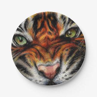 Beautiful face of big cat. paper plate