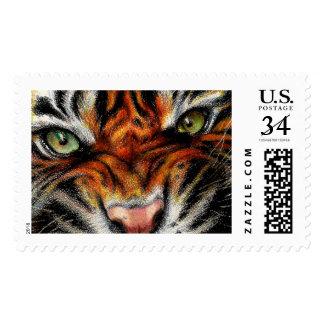 Beautiful face of big cat. postage
