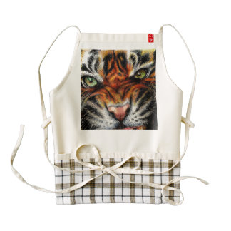 Beautiful face of big cat. zazzle HEART apron