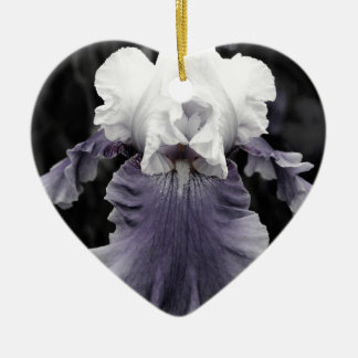 Beautiful faded purple iris print ceramic ornament