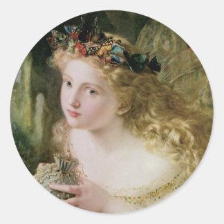Beautiful Fairy Butterflies, Vintage Victorian Art Classic Round Sticker