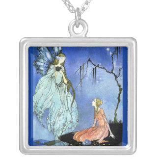 Beautiful Fairy by Virginia Sterrett Square Pendant Necklace
