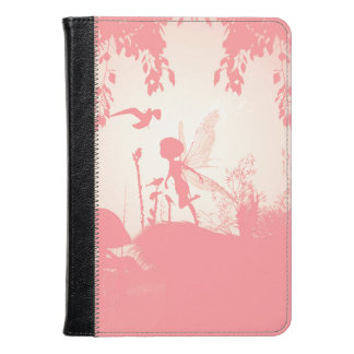 Beautiful  fairy silhouette in pink with birds kindle case