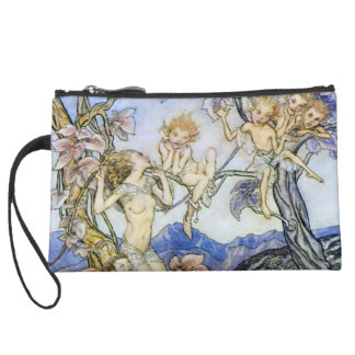 Beautiful Fairy Vintage Sueded Mini Clutch Wristlet Purse