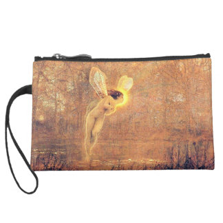 Beautiful Fairy Vintage Sueded Mini Clutch Wristlet Purses
