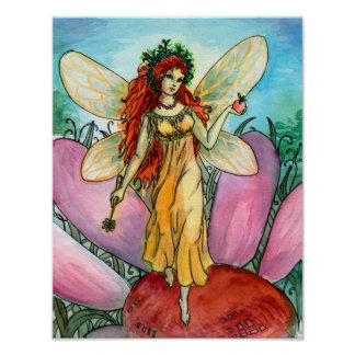 Beautiful Fairy with apple watercolor illustration Poster