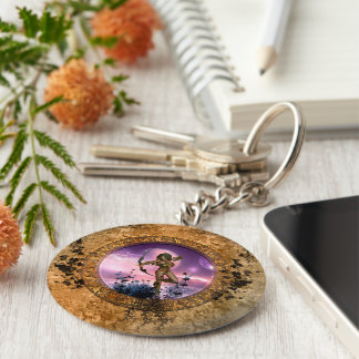 Beautiful fairy with arrow and bow basic round button keychain