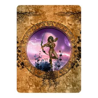 Beautiful fairy with arrow and bow card