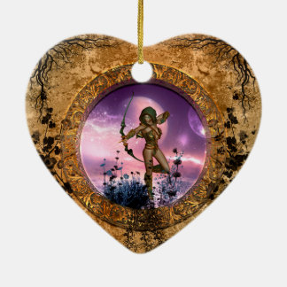 Beautiful fairy with arrow and bow ceramic ornament