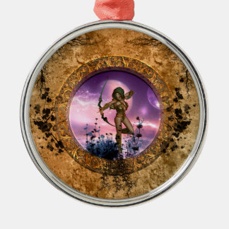 Beautiful fairy with arrow and bow metal ornament
