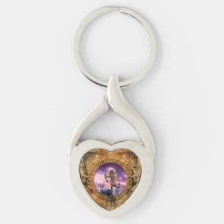 Beautiful fairy with arrow and bow Silver-Colored Heart-Shaped metal keychain