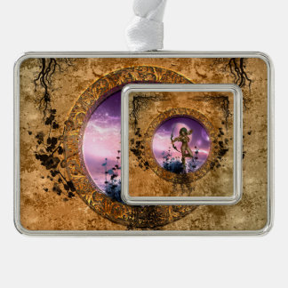 Beautiful fairy with arrow and bow silver plated framed ornament