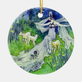 Beautiful Fairy with Lambs, Warwick Goble Art Ceramic Ornament