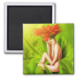 Beautiful fairy woman 2 inch square magnet