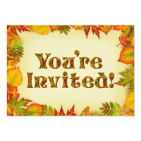 Beautiful Fall/Autumn Birthday Party Invitation