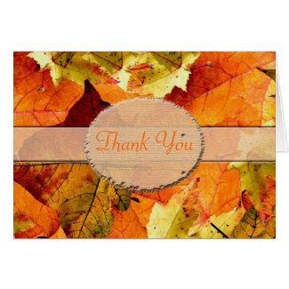 Beautiful fall color leaves wedding thank you card