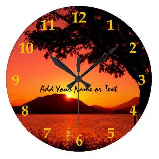 Beautiful Fall Orange Yellow Sunset Lake Mountain Wall Clocks
