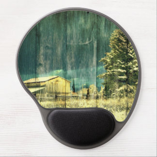 Beautiful fall scene of barn and pine trees gel mouse pad