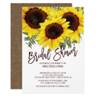 Beautiful Fall Sunflowers Bridal Shower Invite