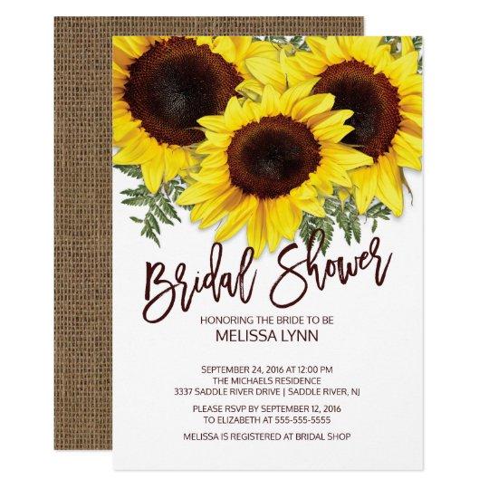 beautiful fall sunflowers bridal shower invite