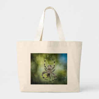 Beautiful Falling Spider on Web Large Tote Bag