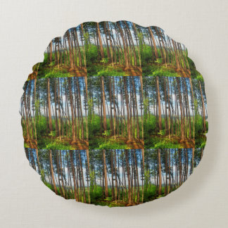 Beautiful Falls Creek, Pa Pines Round Pillow