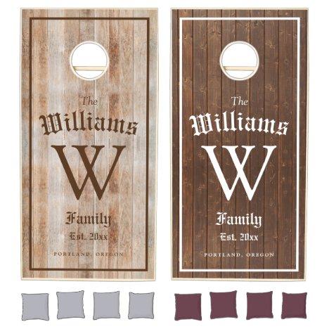 Beautiful family monogram two tone wood texture cornhole set