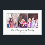 "Beautiful Family Photo Collage Canvas Print<br><div class=""desc"">Canvas print with a family photo collage with three of your photos inside thin gray frames on a white print. Personalize with three family photos,  your family name,  and year established!</div>"